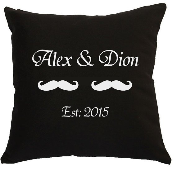 Mr & Mrs Lips & Moustache Personalised Pillow