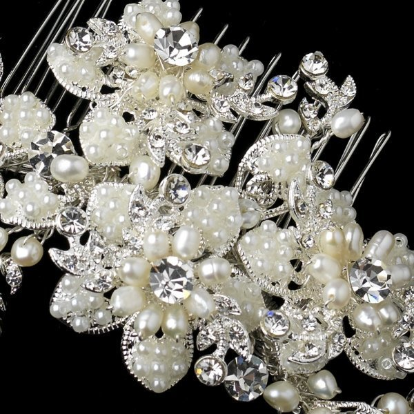 Scattered Pearl & Rhinestone Floral Hair Comb