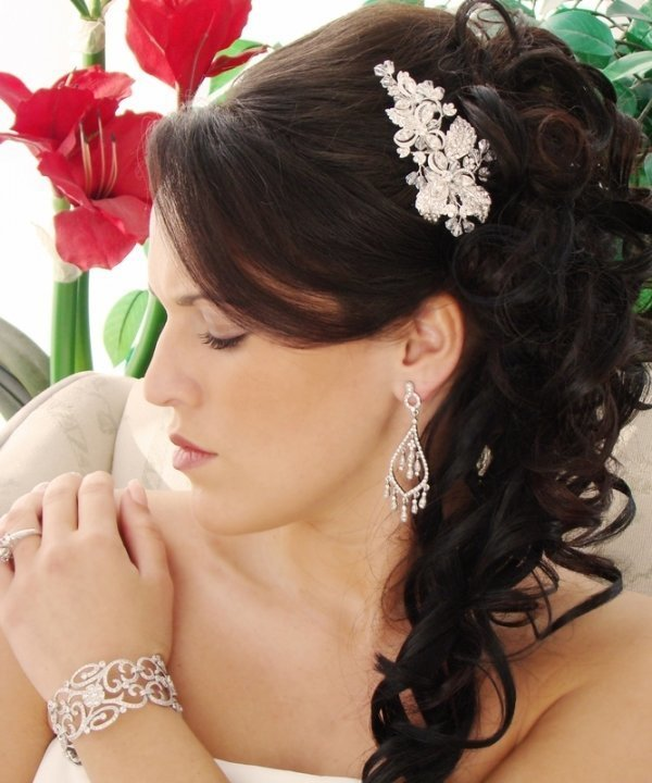 Silver Abstract Floral Bridal Comb
