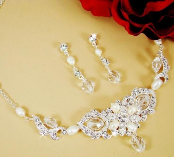 Crystal & Pearl Bridal Jewellery Set