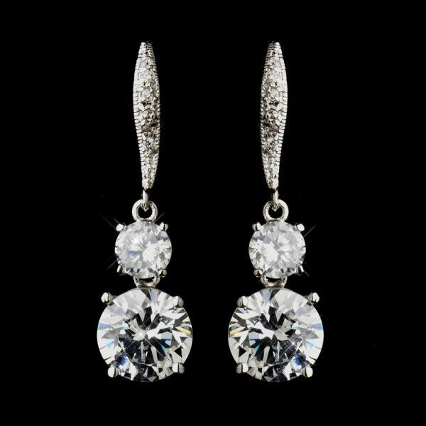 Silver CZ Dazzling Bridal Earrings