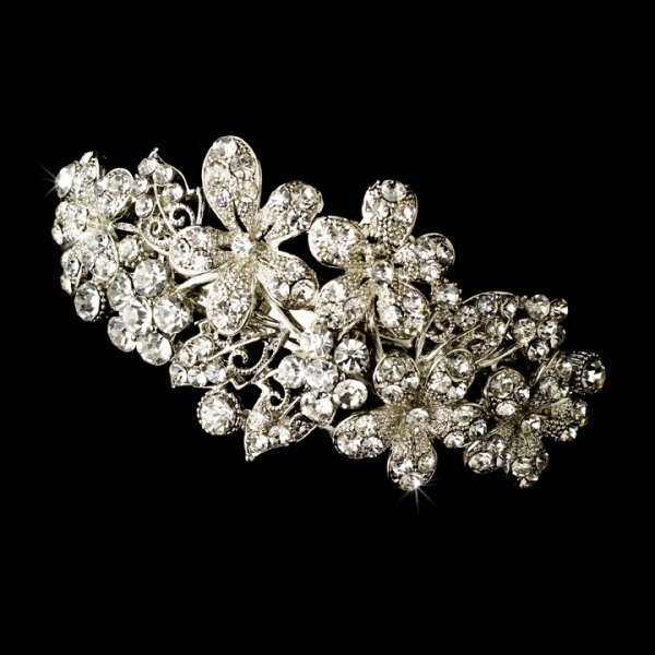 Silver Flower Wedding Hair Barrette Clip