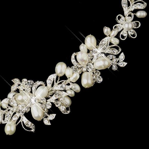 Silver Freshwater Pearl Floral Bridal Bracelet
