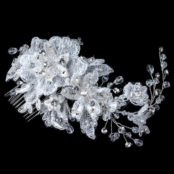 Silver Ivory Lace Floral Comb With Crystals