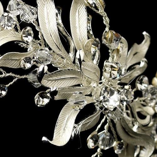 Silver Painted Leaf Design Bridal Headband