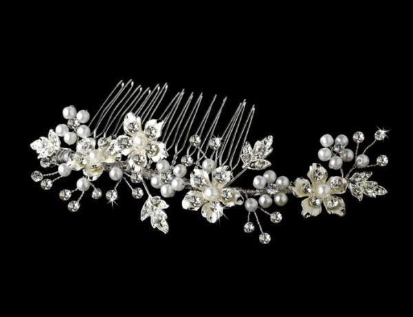 Silver & Pearl Bridal Comb