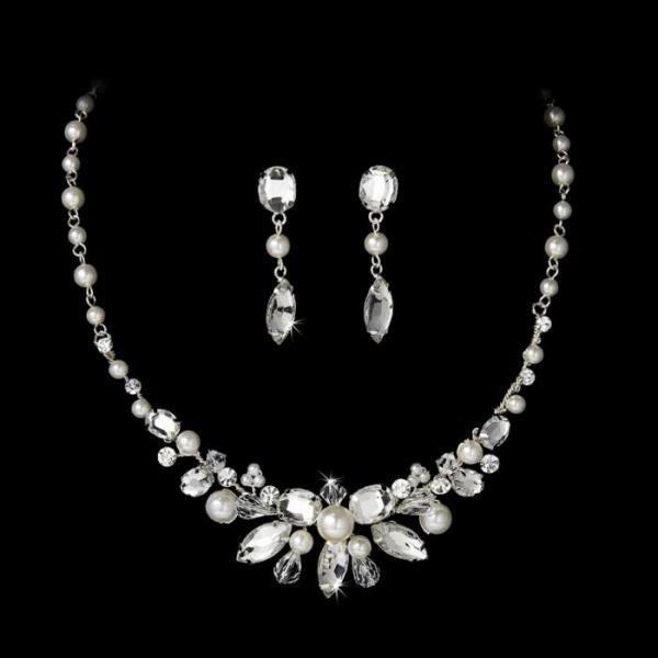 5029f555f2337 Silver Pearl Bridal Jewellery Set