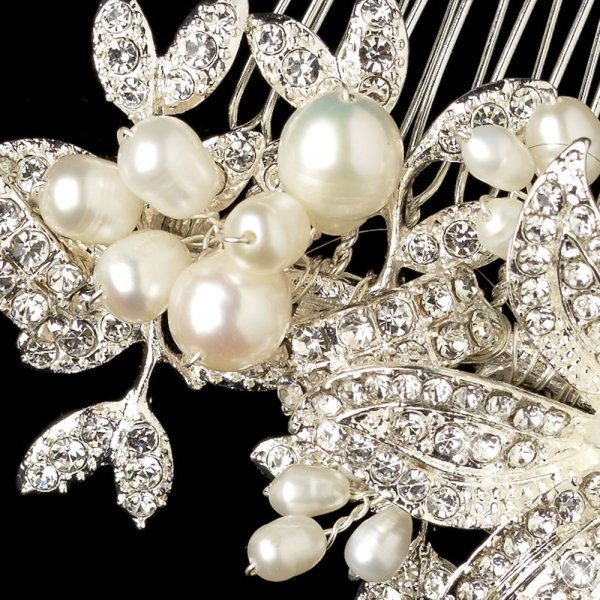 Silver Rhinestone Floral Bridal Comb With Freshwater Pearls