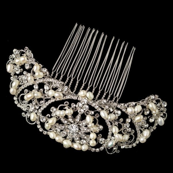Silver Rhinestone And Pearl Lace Pattern Comb