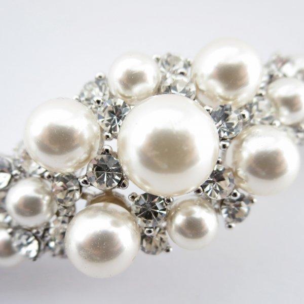 Silver Rhodium Diamond White Pearl Bracelet