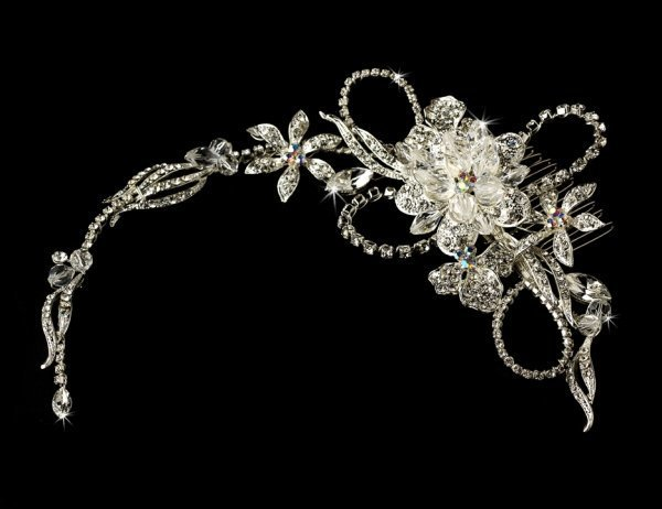 Silver Swarovski Crystal Wrap Around Bridal Headpiece