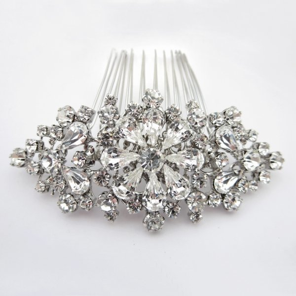 Silver Vintage Floral Hair Comb
