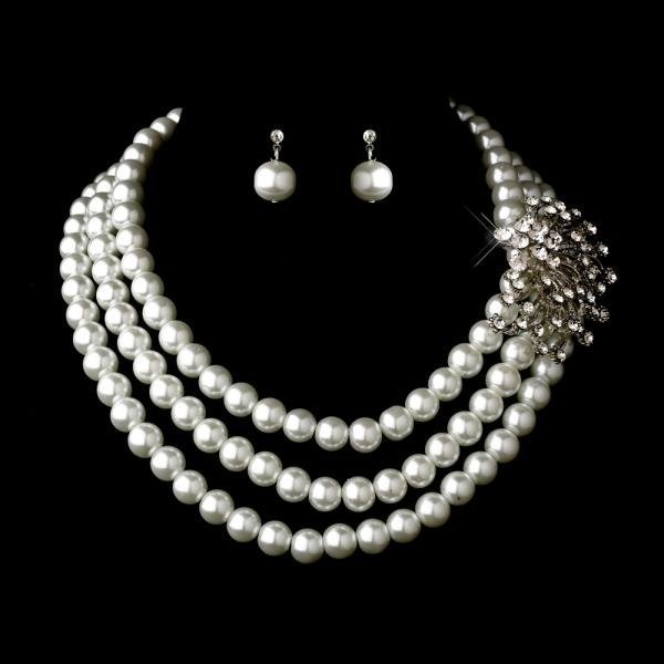 Silver White Necklace Set