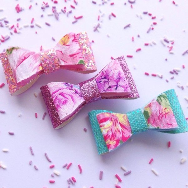 Sparkling Floral Glitter Mini Hair Bow Clips - 3 colours available