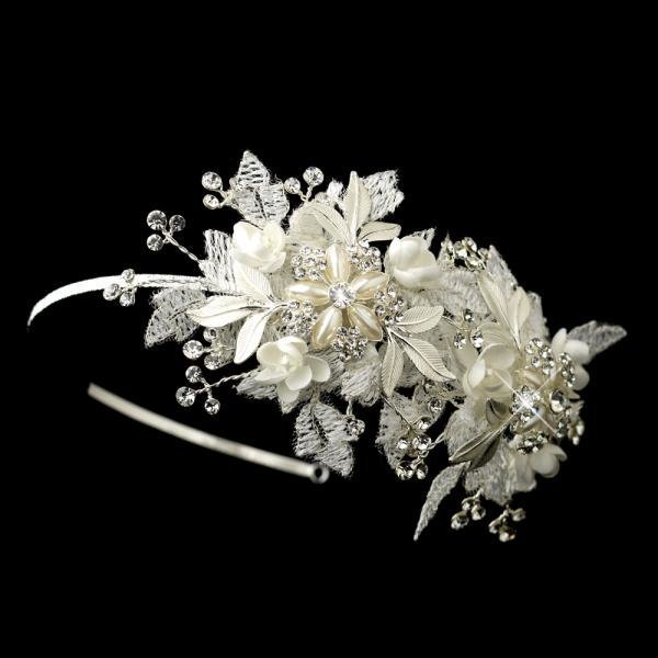 Sparkling Flower Side Accented Bridal Headband