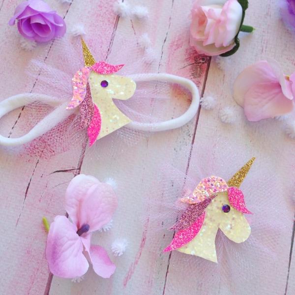 Sparkling Unicorn Girls Hair Clip or Headband