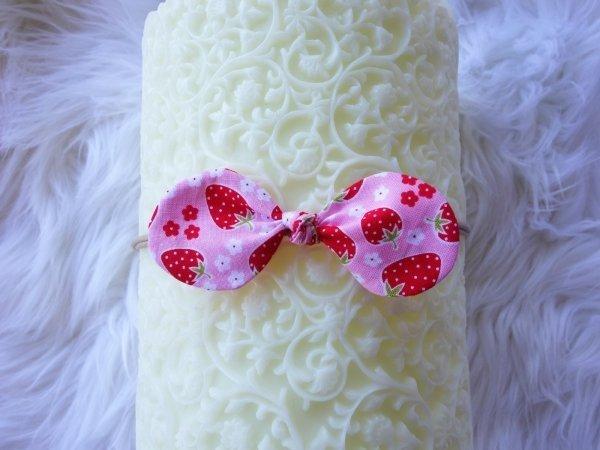 Strawberry & Red Polkadot Top Knot Bow Baby Headband Set
