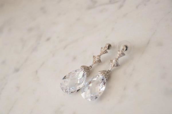 Stunning Antique Silver CZ Earrings