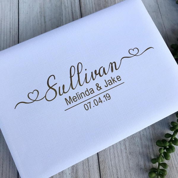Stylish Hearts Personalised Wedding Guest Book