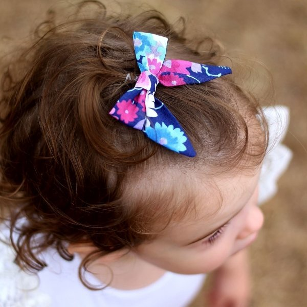 Summer Days Navy & Hot Pink Floral Bow Headband or Clip