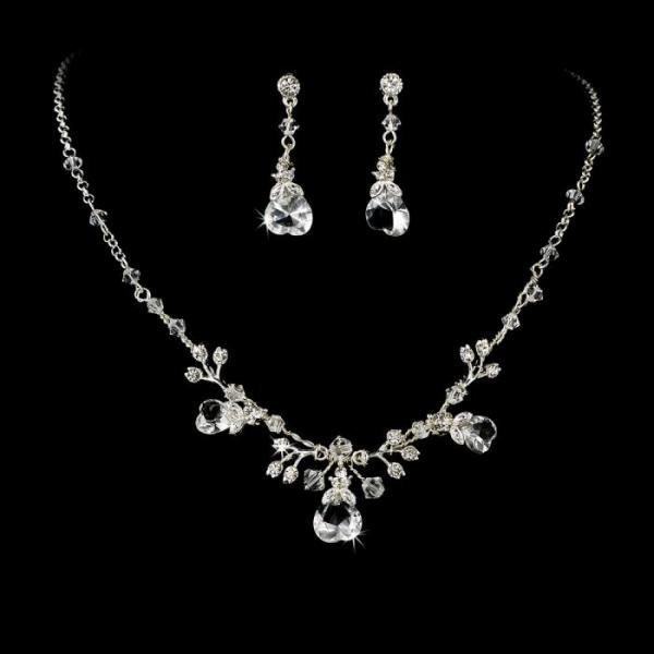 Swarovski Silver Heart Bridal Necklace Set