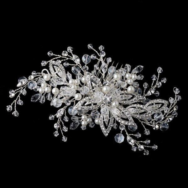 Swarovski Crystal & White Pearl Floral Vine Wedding Hair Comb