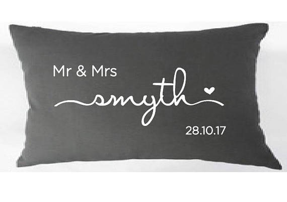 Sweet Scripted Font Newlywed Personalised Cushion