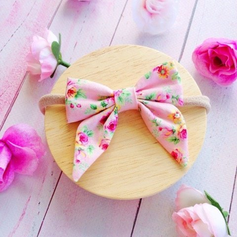 Tiny Pink Floral Baby Bow Headband or Clip