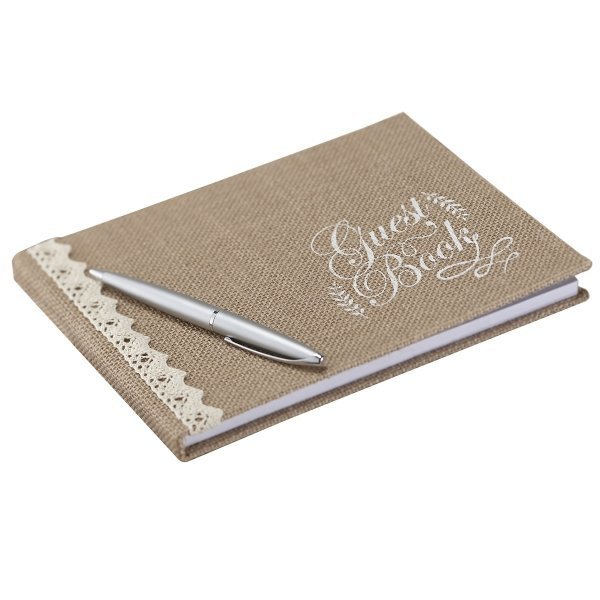Vintage Affair Hessian Burlap Rustic Wedding Guest Book