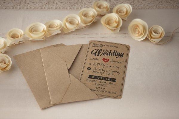 Vintage Kraft Wedding Invitations