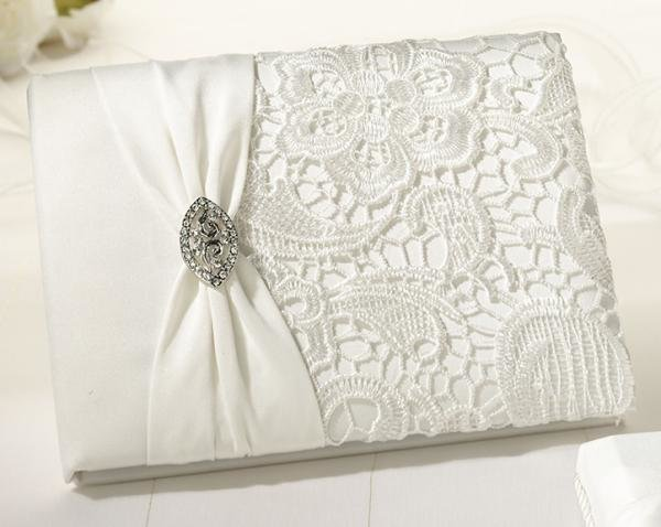 Vintage Cream Lace Wedding Guest Book