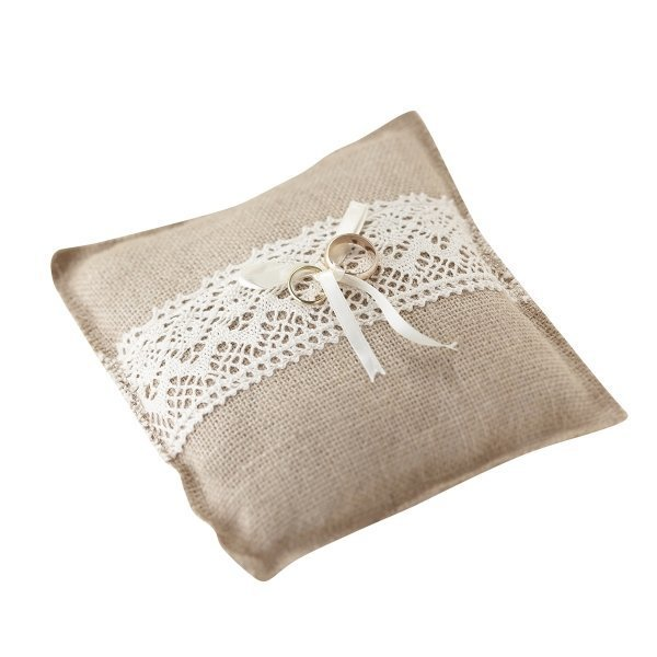 Vintage Hessian Wedding Ring Pillow With Lace Trim