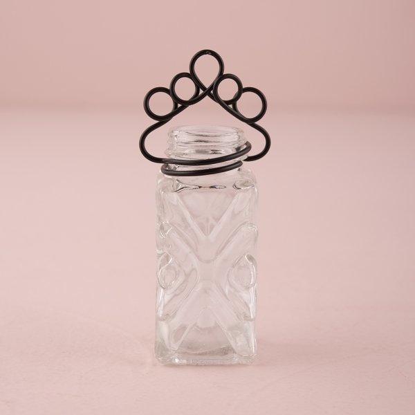 Vintage Inspired Glass Salt & Pepper Vases with Decorative Stationery Holders