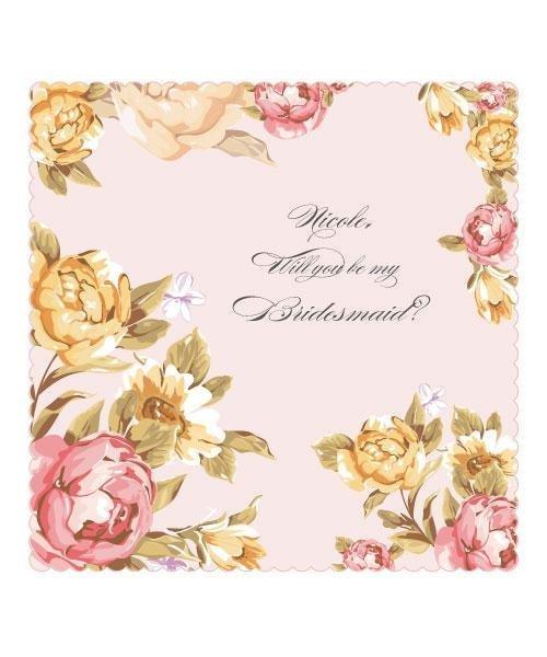 Personalised Tea Rose Wedding Handkerchief