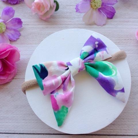 Watercolour Floral Girls Sailor Bow Hair Clip or Headband
