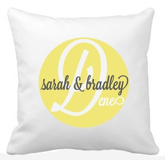 Personalised Couples Wedding Cushion Circle Design