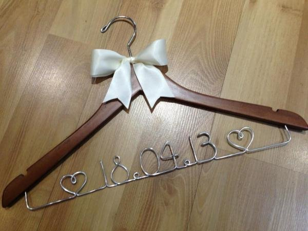 Wedding date coat hanger with bow decoration weddings for Wedding dress coat hanger