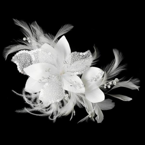 White Feather Fascinator With Beads