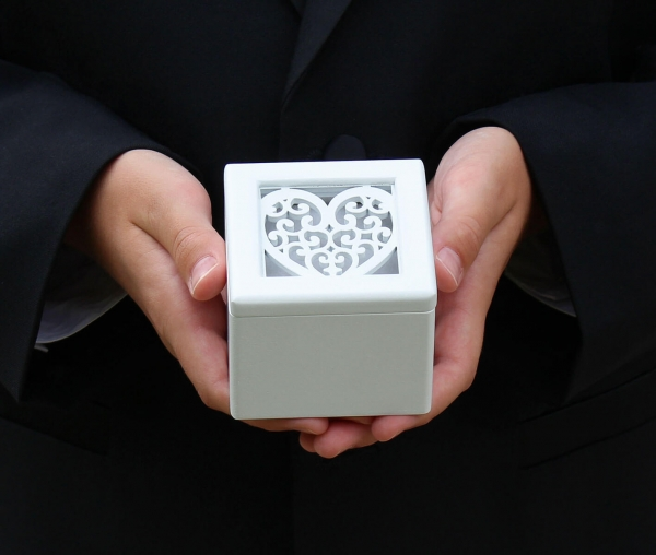 White Wooden Filigree Heart Ring Box