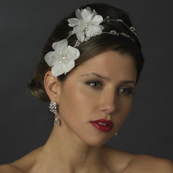 White Floral Crystal Bridal Headpiece