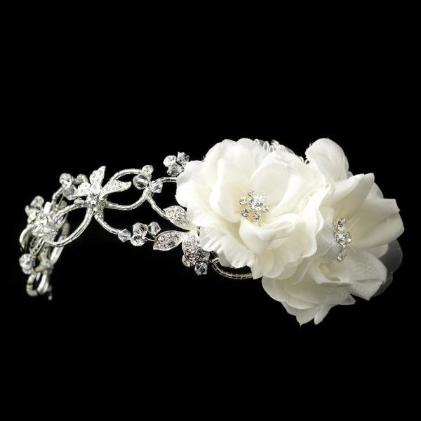 White Flower & Rhinestone Wedding Headband