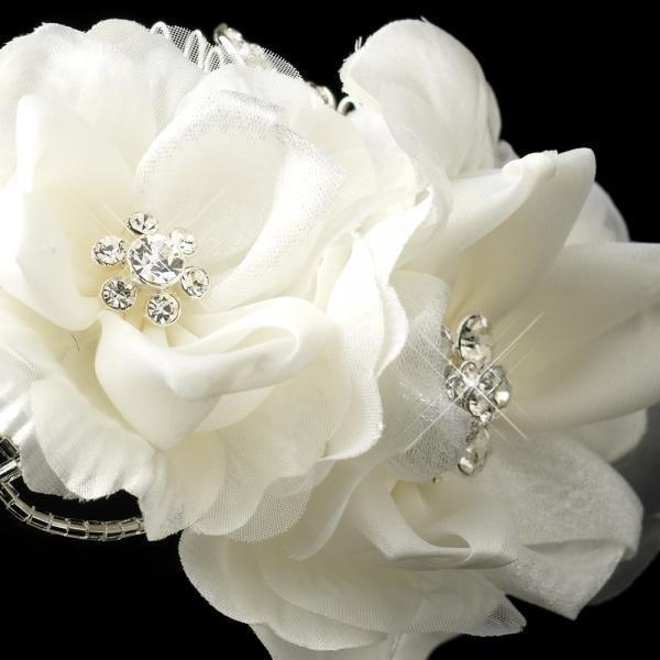 White Flower & Rhinestone Wedding Headband