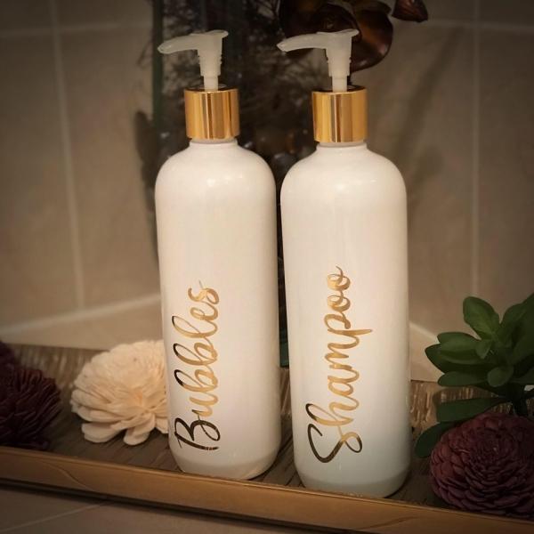 Custom Bathroom Pump Dispenser Bottles With Gold Lid