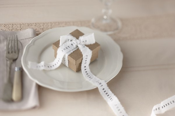 Just Married White Frayed Ribbon
