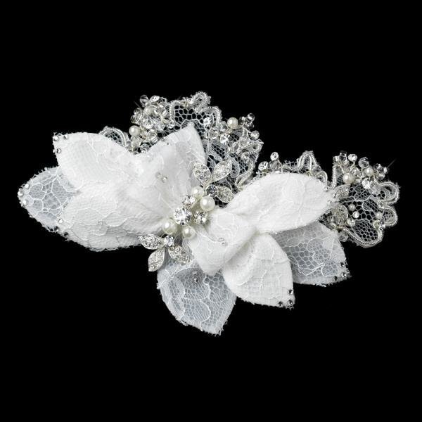 Off White Lace Flower Comb With Rhinestones & Pearls