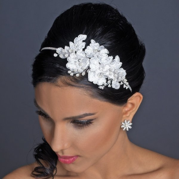 White Lace Flower Headband With Pearl & Rhinestone Accents