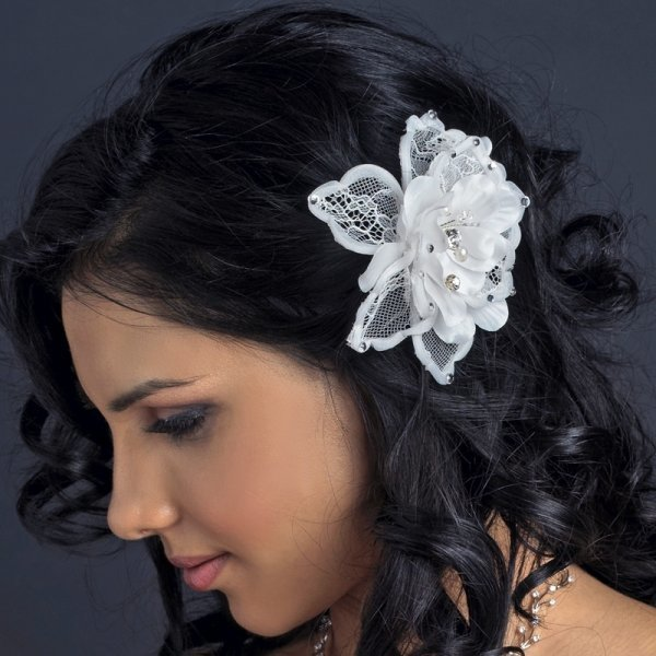 White Mesh Lace Fabric Flower Comb