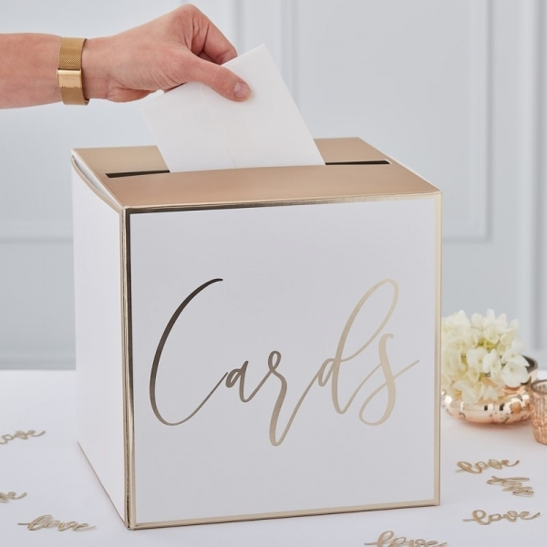 White & Gold Foil Wedding Post Box Card Holder