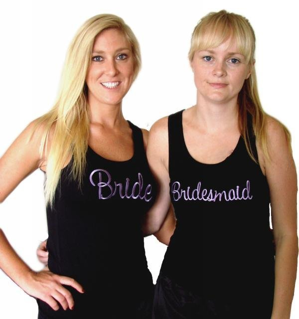 White or Black Bridal Party Singlet With Purple Embroidery