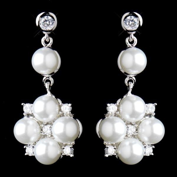 Silver Crystal & White Pearl Flower Drop Earrings